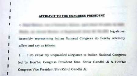 Congress distances itself from 'allegiance pledge' for its Bengal MLAs