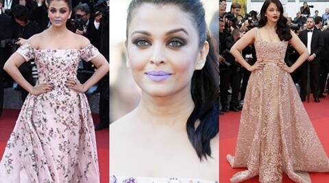 PHOTOS: Playing it safe no more: Aishwarya Rai Bachchan's purple lips at Cannes | The Indian Express