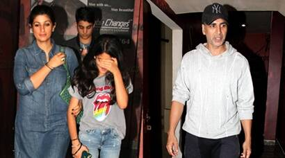 Akshay Kumar's movie date with wife Twinkle and son Aarav, see pics