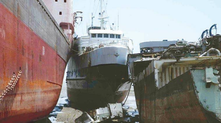 Maersk, Maersk ships at Alang, Ship breaking yard, alang ships, ship breaking at alang, india news. indian express
