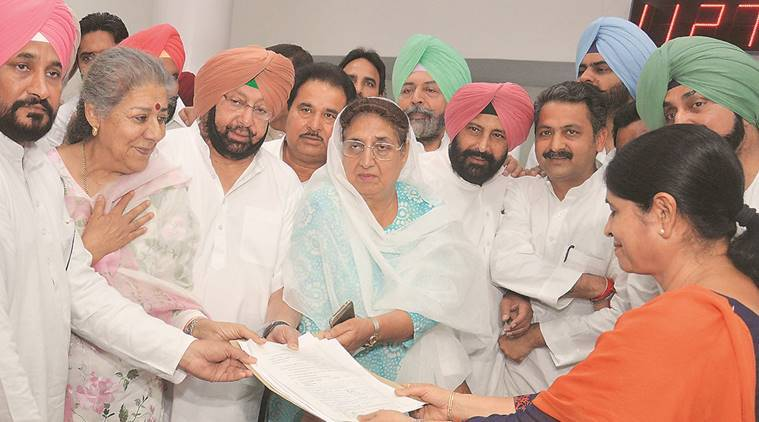 Ambika Soni (2nd from left) with Capt. Amarinder Singh PPCC president and other congress leaders during filling of nomination for Rajya Sabha at Punjab Vidhan Sabha in Chandigarh on Monday, May 30 2016. Express Photo