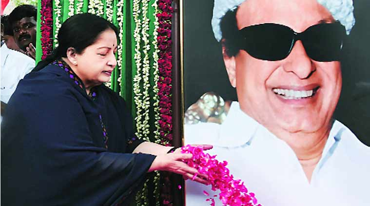 Jayalalithaa pays tribute to MGR in Chennai on Friday. (Source: PTI)