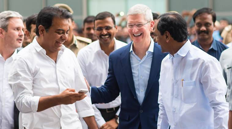Tim Cook with IT minister Rama Rao and Chief Minister KCR in Hyderabad. Image Courtesy: IndianExpress