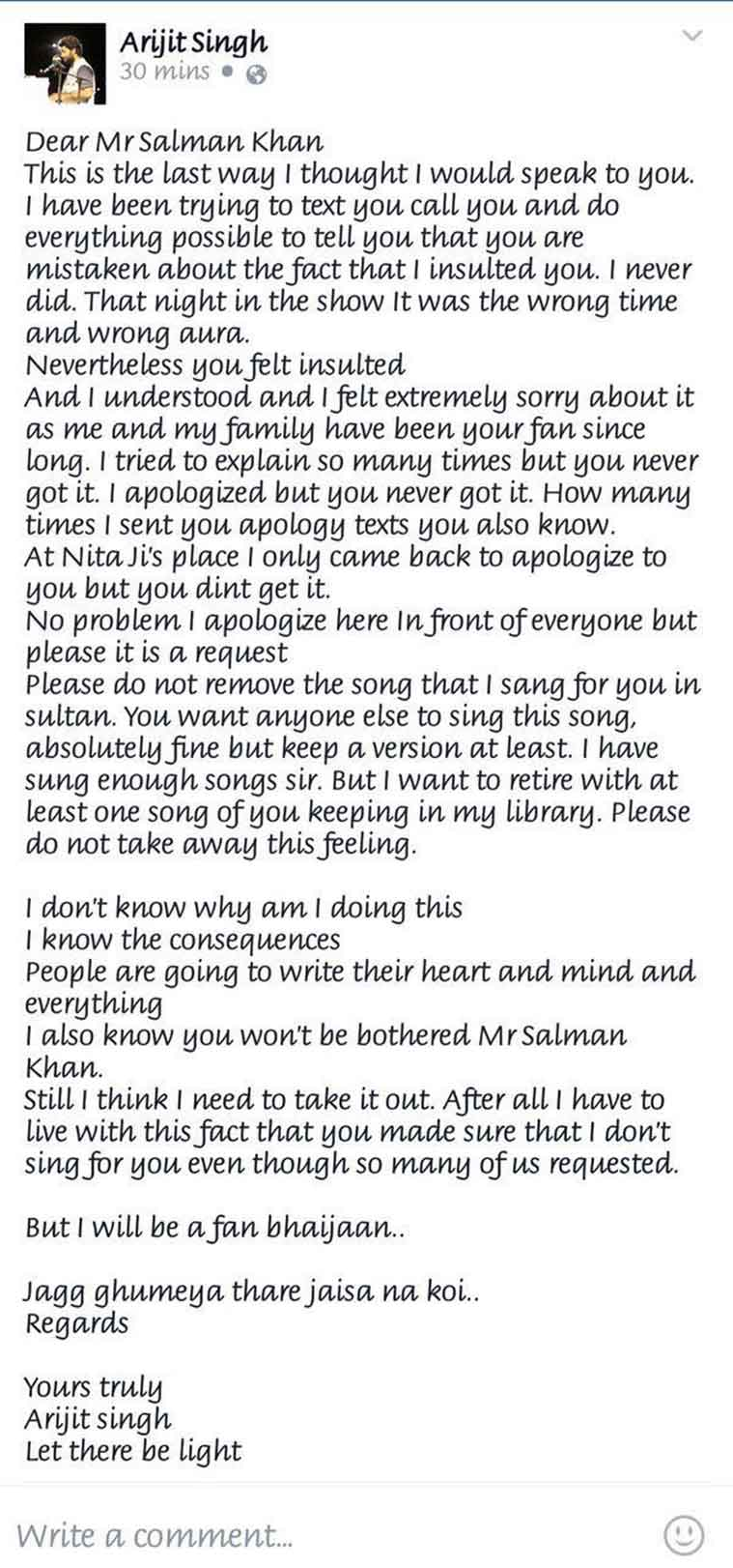 Apology Letter by Arijit Singh for Salman Khan