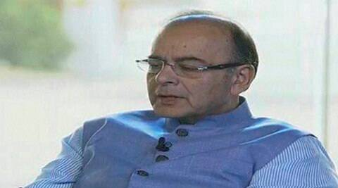 New Delhi: Finance Minister Arun Jaitley during the mega event organised to highlight the NDA government's achievements in the two years, at India Gate in New Delhi on Saturday. PTI Photo / TV GRAB (Doordarshan) (PTI5_28_2016_000211B)