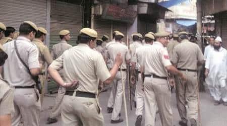 Heavy patrolling in 'sensitive' Ballimaran: On foot, on motorcycles, policemen keep thepeace