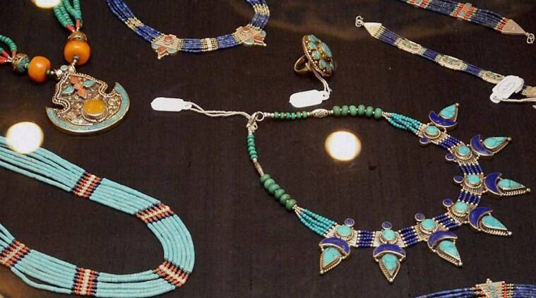 New Delhi: Handcrafted Jewellery by widows and other women in Afghanistan is showcased at a store in Delhi. PTI Photo (editors advised to see MAG story slugged JEWELLERY, MAG1, 2) (PTI5_26_2016_000066A)