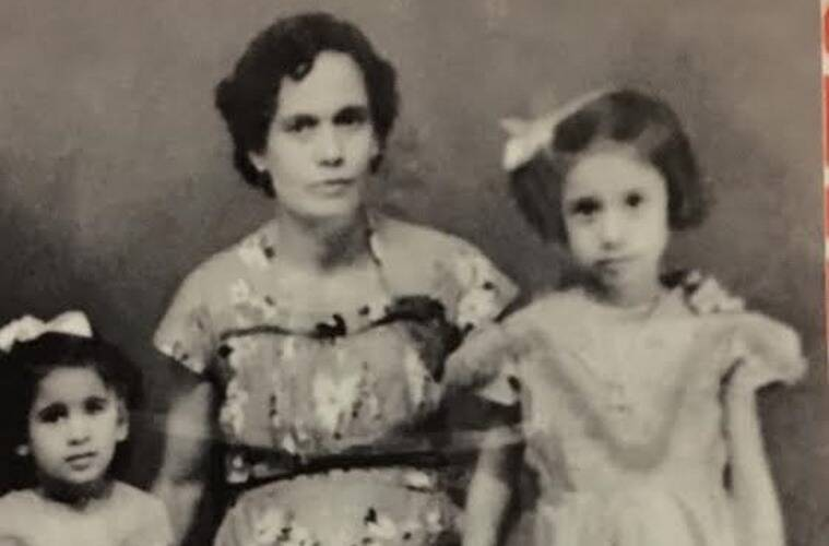 Bridget White-Kumar (extreme right) with her mother.