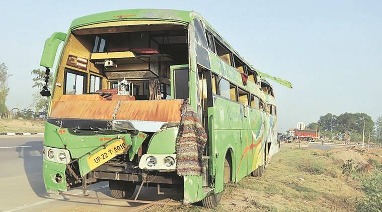 Tourist bus damaged after overturned in Zirakpur on Tuesday, May 17 2016. Photo by Harjeet Singh