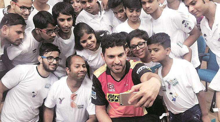 IPL mohali, IPL match in Mohali, Yuvraj Singh, Cancer survivor Yuvraj Singh, cancer survivor children, yuvraj with cancer survivor, india news