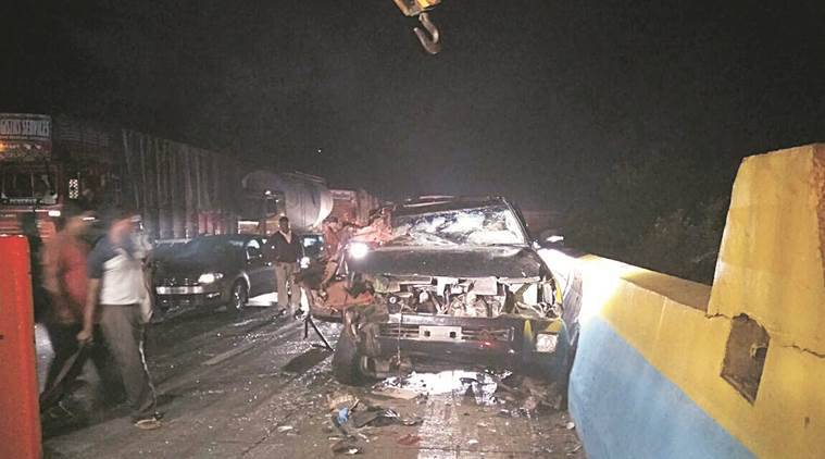 Severely damaged car of city based businessman D S Kulkarni after the accident on the Expressway.Express Photo,25.05.16,Pune.