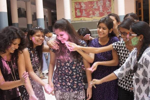 Popping laddus and splashing colours, students celebrate after clearing CBSE hurdle