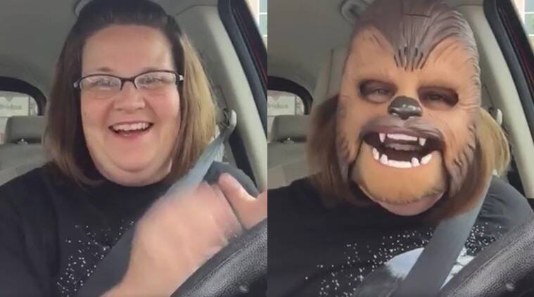 Candace Payne, Chewbacca mask, happy Chewbacca, viral videos, most viral video on Facebook, woman wears Chewbacca mask,