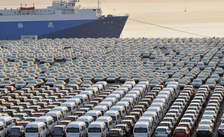 Chinese cars wait for export at a port in Dalian, Liaoning province October 15, 2012.  REUTERS/China Daily/File Photo CHINA OUT. NO COMMERCIAL OR EDITORIAL SALES IN CHINA