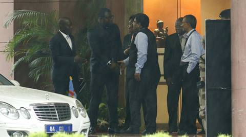 A Deligation of Congolese  after the meeting with mea official  in new delhi on monday.Express photo by Anil Sharma.30.05,2016