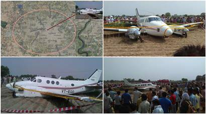 Photos: Narrow escape for seven as air ambulance crash lands near Delhi