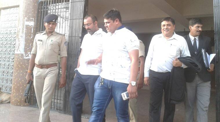 Shailendra Singh Jaat (second from left) outside Rajkot court on Tuesday.