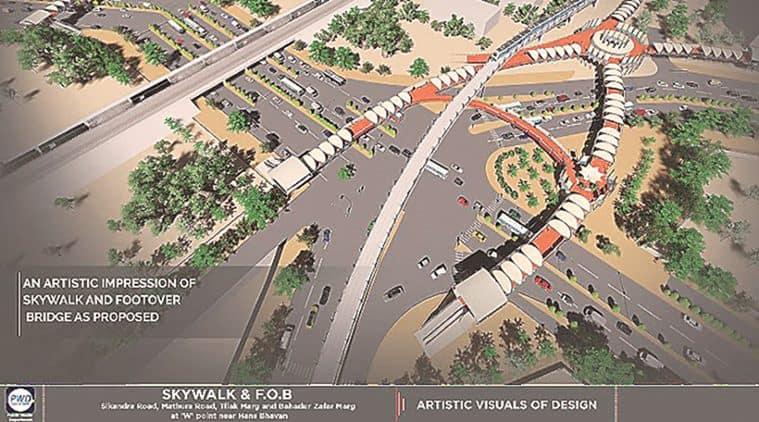 FoB project, delhi skywalk, delhi government, ITo crossing, delhi ITO, delhi urban art commission, PWD, delhi news, indian express delhi