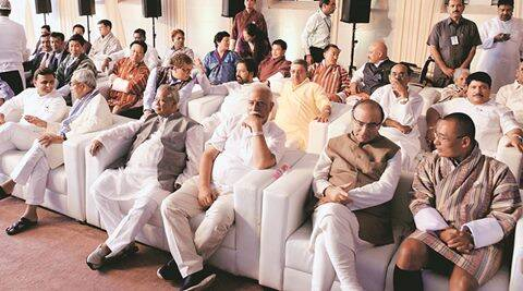 Indian and foreign Political leaders at the swearing in ceremony of Mamata Banerjee's 2nd Government of West Bengal. In Kolkata on Friday. Express photo by Subham Dutta. 27.05.16