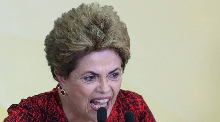 Brazil's President Dilma Rousseff speaks during a ceremony that announced the opening of new federal universities at Planalto presidential palace in Brasilia, Brazil, Monday, May 9, 2016. The acting speaker of the lower house of Brazil's Congress on Monday annulled last month's vote on impeachment, delaying and complicating the process that was widely expected to see Rousseff suspended later this week. (AP Photo/Eraldo Peres)