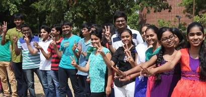 Toppers rejoice after the state board Class XII results were declared on Saturday at Ahmedabad.  Express Photo Javed Raja. 31.05.2014.