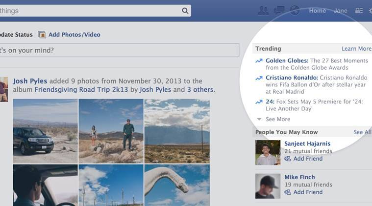 Facebook's trending topics shows popular topics being discussed at any given moment (Source: Facebook)