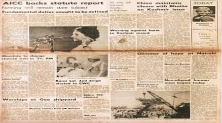 forty years ago, indian express newspaper, all india congress, Swaran Singh committee, AICC session, Indira Gandhi, Congress, constitution amendment, US Defence Department, US Congress, indian express editorial