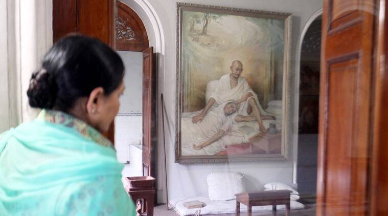 The canvas featuring Gandhi's wife Kasturba nestled in his lap. (Express photo by Arul Horizon)