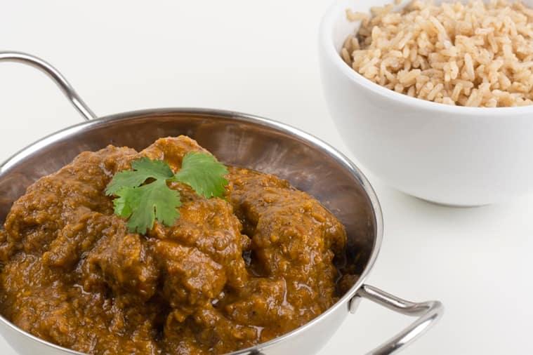 Goan chicken xacuti with brown rice.