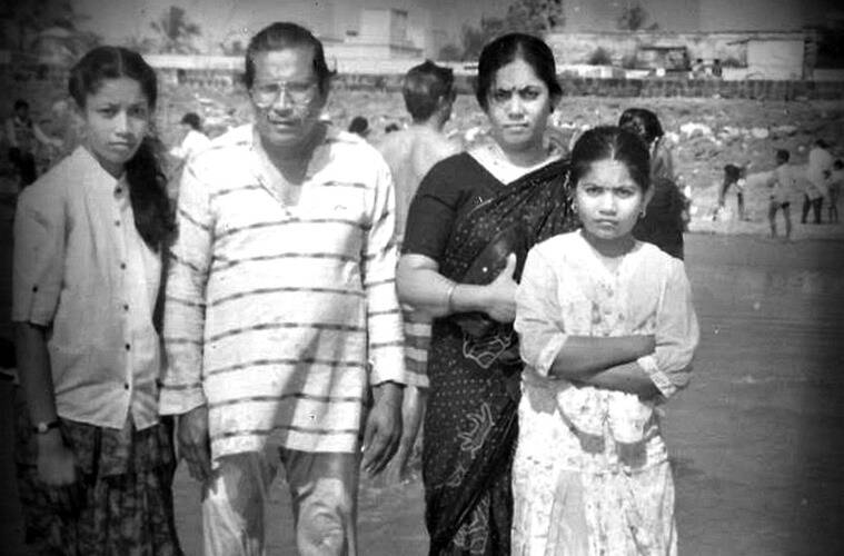 Indrani Dhar (extreme left) with her family.