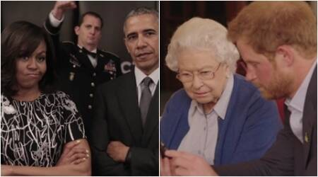 Boom! Queen Elizabeth's and Prince Harry's reaction to the Obamas' Invictus Games challenge is hilarious