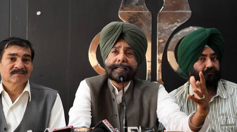 Expelled senior congress leader Jagmeet Singh Brar during a press conference in Chandigarh on Wednesday, April 27 2016. Express photo by Jaipal Singh