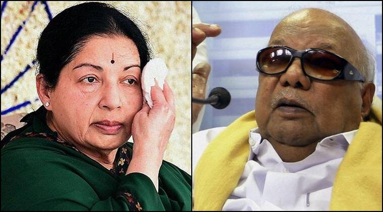 AIADMK chief Jayalalithaa and DMK head M Karunanidhi