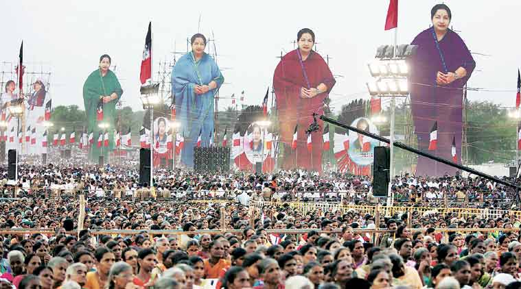 At Jayalalithaa's campaign rally in Perundurai, Thursday. (Source: PTI)