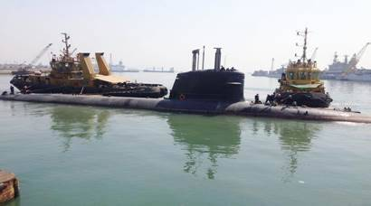 Kalvari — the first of P75 submarines sails out of Mumbai harbour for Sea trials