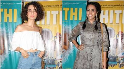 Kangana Ranaut, Swara Bhaskar catch up for Kannada film Thithi's screening; see pics