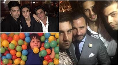 Shah Rukh Khan with sons AbRam and Aryan, Saif, Kareena and Ranbir celebrate Karan Johar's birthday in London; see pics