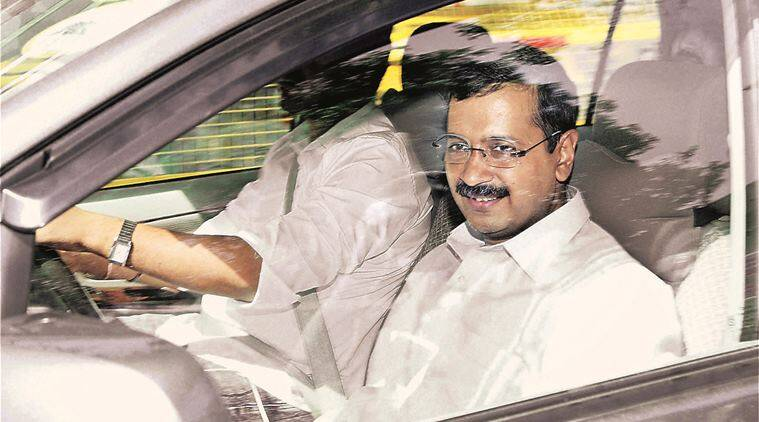 New Delhi: Delhi CM Arvind Kejriwal coming out of Patiala House courts after a hearing in a defamation case against him filed by Finance Minister Arun Jailtey, in New Delhi on Thursday. PTI Photo (PTI5_19_2016_000367B)