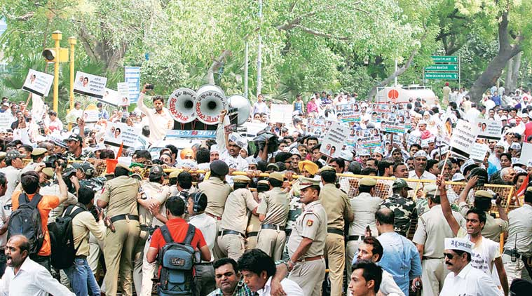 Over 300 party workers were detained during the protest and taken to Parliament Street police station. Prem Nath Pandey