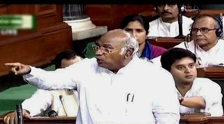 New Delhi: Congress leader Mallikarjun Kharge speaks in the Lok Sabha in New Delhi on Tuesday. PTI Photo / TV GRAB (PTI5_10_2016_000102B)