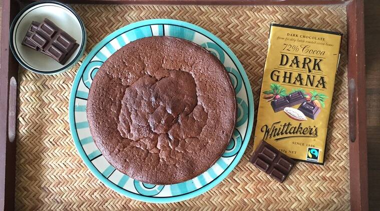 This cake, baked with 72 per cent dark chocolate and ground almonds, was a thing of sheer joy. (Photo: Bijal Vachharajani)