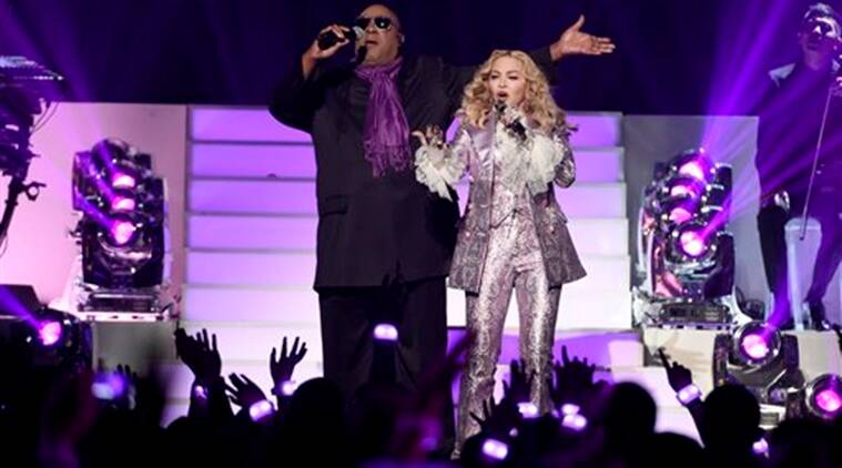 Madonna, Prince, Billboard Music Awards, Madonna tribute, prince tribute, Nothing Compares 2 U, Stevie Wonder, Purple Rain, Rihanna, The Weeknd, Rebecca Romijn, Love song, Entertainment news