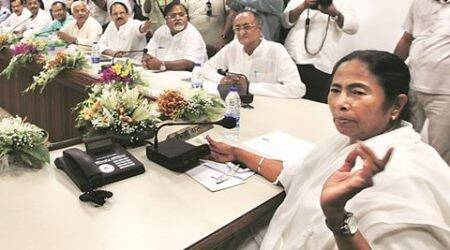 CM Mamata Banerjee just before the first cabinet meeting with her council of ministers at Nabanna after swearing-in-ceremony in Red Road Kolkata, the second consecucitive time on May 27, 2016.Express photo by Partha Paul.