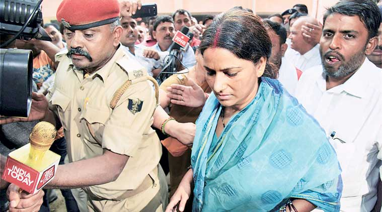 Manorama Devi surrenders at a court in Gaya Tuesday. (PTI Photo)