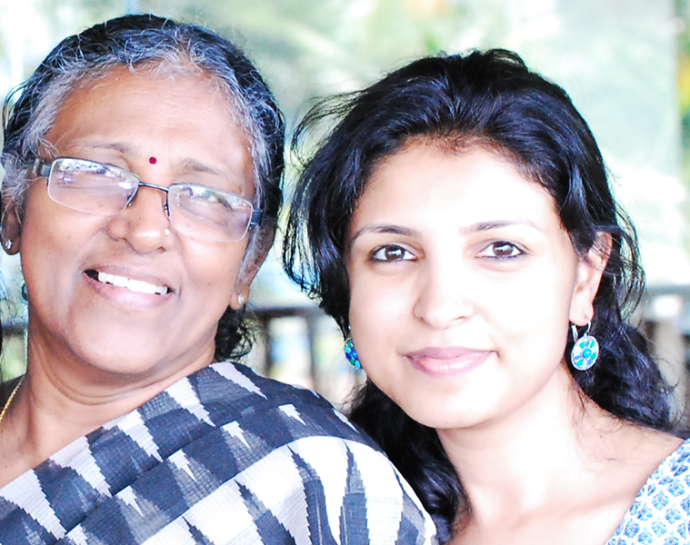 Maria Jose Martin with her mother.