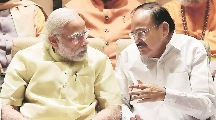 PM Narendra Modi with M Venkaiah Naidu on Tuesday. PTI photo