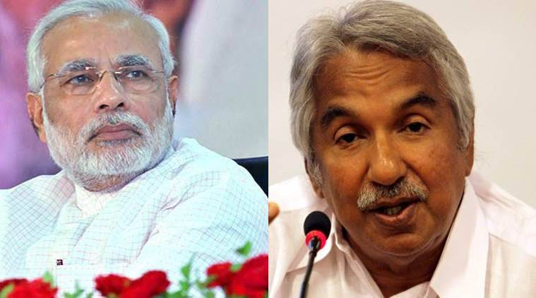 Prime Minister Narendra Modi and Kerala CM Oommen Chandy.