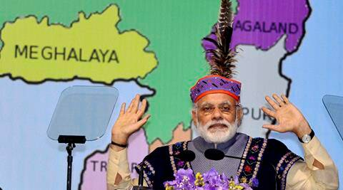 Shillong: Prime Minister Narendra Modi  delivering his speech on the occasion of the flag off ceremony of three trains in Shillong, Meghalaya  on Friday.PTI Photo(PTI5_27_2016_000292B)