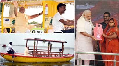 narendra modi, uttar pradeah, varanasi, modi varanasi visit, modi free lpg scheme, modi e-boat scheme, modi e-rikshaw, modi in ballia, Modi UP visit, Modi varanasi visit, Modi UP elections, modi photo, india news, latest news