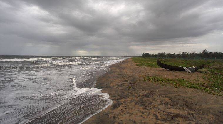Rejoice in the showers. Monsoon hits the coast of Kerala. Shot from puthuvypin beach Cochin, Kerala on 31-May-2013.